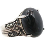 Black Onyx Ring, Sterling Silver, Vintage Ring, Big Long, Vintage Jewelry, Bohemian, Size 11 1/2, Statement, Ethnic, Boho, Tribal, Black