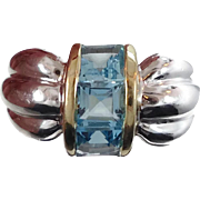 Blue Topaz Ring, Sterling Silver, Vintage Ring, Gold Trim, Contemporary, Modern, Statement Ring, Unisex Mens Mans, Size 6, InVintageHeaven