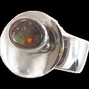 Boulder Opal, Sterling Silver Ring, Unique, Statement Ring, Vintage Modern, Large Big Huge, Contemporary, Studio Quality, Wide Band