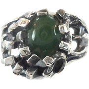 Jade Ring, Brutalist Ring, Green Ring, Sterling Silver, Organic, Size 9, Vintage Ring, Wax Cast, Unique, Unusual Odd, Mens Ring