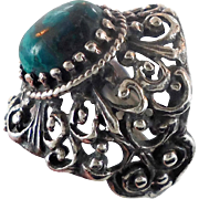 Chrysocolla Ring, Sterling Silver, Vintage Ring, Ornate Filigree, Boho Statement, Size 5 1/2, Ethnic, Turquoise, Green Stone, Signed