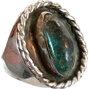 Chrysocolla Ring, Turquoise Aqua, Sterling Silver, Statement Ring, Vintage Heavy, Mens Mans, Size 12, Massive, Blue Green Stone, Old