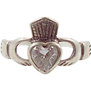 Claddagh Ring, White CZs, Sterling Silver, Celtic Jewelry, Vintage Ring, Irish, 925, Size 6 1/4, Irish Wedding, Heart, Crown, Hands