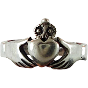Claddagh Ring, Sterling Silver, Vintage Ring, Irish Jewelry, Celtic Knot Ring, 925, Size 5, Irish Wedding, Heart, Crown, Hands