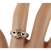 Claddagh Ring, Sterling Silver, Vintage Ring, Irish Jewelry, Celtic Ring, 925, Size 7, Irish Wedding, Heart, Crown, Hands