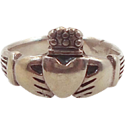 Claddagh Ring, Sterling Silver, Vintage Ring, Irish Jewelry, Celtic Ring, 925, Size 8, Irish Wedding, Heart, Crown, Hands