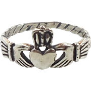 Claddagh Ring, Sterling Silver, Vintage Ring, Irish Jewelry, Celtic Ring, 925, Size 6, Irish Wedding, Heart, Crown, Hands
