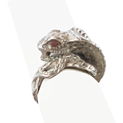 Snake Ring, Red Eyes, Vintage Ring, Sterling Silver, Python Cobra, Biker, Gothic Egyptian, Boho Statement, Rocker, Wiccan, Bohemian, Ethnic