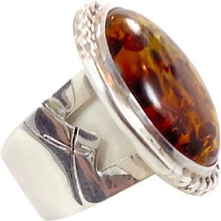 Amber Ring, Sterling Silver, Vintage Jewelry, Designer DTR DRT, Heavy Silver, Wide Band, Big Statement, Modern Mod, Large Huge, Amber Stone