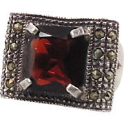 Marcasite Ring, Sterling Silver, Vintage Ring, Big Statement, Unique, Unusual, Faux Garnet Ring, Boho Jewelry, Gothic, Size 7 1/2, Red Stone