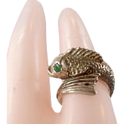 Fish Sterling Ring, Emerald Eyes, Sterling Silver, Vintage Ring, Size 3 1/2, Detailed Unique, Unusual, Animal Jewelry, Koi Fish, Mermaid