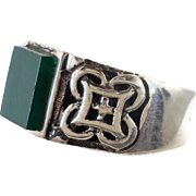 Green Onyx Ring, Sterling Silver, Celtic Knot, Irish Ring, Vintage Ring, Statement Ring, Size 13, Ring Band, Vintage Jewelry, Mens Ring
