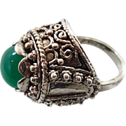 Unique Ring, Green Onyx, Sterling Silver, Vintage Ring, Statement Ring, Big Long, Size 6 1/2, Green Stone, Boho Bohemian, Ornate Detailed