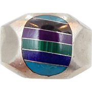 Turquoise Ring, Sterling Silver, Vintage Ring, Inlayed Inlaid, Lapis Malachite, Black Onyx, Sugatlite, Vintage Mexico, Size 11 1/2,