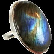 Labradorite Ring, Sterling Silver, Vintage Ring, Large Stone, Big Statement, Size 8, Blue Green Gold, Boho Bohemian, Oval, Massive Chunky
