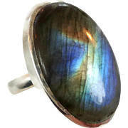 Labradorite Ring, Sterling Silver, Vintage Ring, Large Stone, Big Statement, Size 8, Blue Green Gold, Boho Bohemian, Oval, Massive Chunky