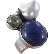 Lapis Ring, Sterling Silver, Vintage Ring, Pearl Topaz, Multi Gemstone, Size 6 1/2, Statement Ring, Boho Bohemian, Modern Contemporary, Big