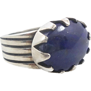 Lapis Lazuli Ring, Sterling Silver, Navajo Designer, Native American, Blue Stone, Heavy Silver, Quality, Mens Mans Unisex, Size 10 1/4, Big