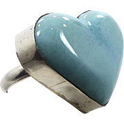 Heart Ring, Blue Larimar, Sterling Silver, Vintage Ring, Big Dolphin Stone, Statement Ring, Size 8, Beach Mermaid, Ocean Sea, Stefilia Stone