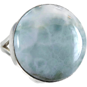 Blue Larimar, Unique Ring, Sterling Silver, Vintage Ring, Statement, Big Dolphin Stone, Size 8, Blue Stone, Boho Bohemian, Cruise Jewelry