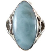 Blue Larimar Ring, Sterling Silver Ring, Vintage Ring, Large Stone, Size 6 1/2, Blue, Boho Ring, Dolphin Stone, Atlantis Stone, Stefilia