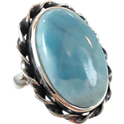 Larimar Ring, Sterling Silver, Huge Blue Stone, Vintage Ring, Statement, Size 7, Bohemian, Natural Gemstone, Stefilia, Boho Ring