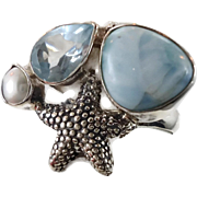 Larimar Ring, Blue Topaz, Sterling Silver, Vintage Ring, Starfish, Pearl, Multi Stone, Size 9 1/2, Mermaid, Beach Ocean, Sea, Gemstones