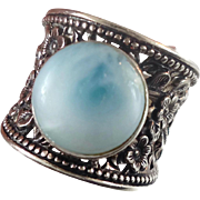 Larimar Ring, Sterling Silver, Blue Stone, Vintage, Statement, Cigar Band, Size 9 1/2, Bohemian, Unique Unusual, Stefilia, Boho, Atlantis