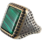 Malachite Ring, Sterling Silver, Vintage, Mens Ring, Green Stone, Black Stones, Middle Eastern,Unique, Two Toned, Size 10 1/2, Ethnic Tribal