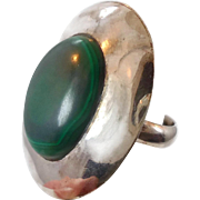 Malachite Ring, Green Stone, Sterling Silver, Vintage Ring, Large, Big Statement, Size 8, Minimalist, Modern, Unisex Mens, Vintage Jewelry