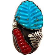 Turquoise Ring, Zuni Native American, Red Coral, Sterling Silver, Loyolita Tsatte, Signed, Mens Mans, Size 9 1/2, Carved Stone, Vintage Pawn