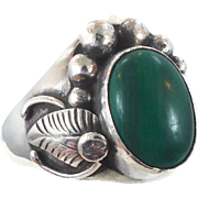 Malachite Ring, Native American, Sterling Silver, Vintage Ring, Size 12 1/2, Feather, Heavy, Green, Southwestern, Country Western, Mens