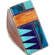 Turquoise Ring, Inlaid Zuni, Sterling Silver, Vintage Ring, Native American, Lapis, Spiny Oyster, Mens Mans, Big Statement, Size 10 1/2