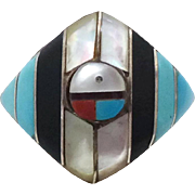 Native American Ring, Sterling Silver, Inlay Turquoise, Zuni Sun Face, Sunface, Size 6 1/2, MOP Coral, Black Onyx, Signed, Boho Bohemian