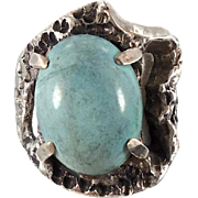 Turquoise Ring, Sterling Silver, Robins Egg Blue, Brutalist, Vintage Ring, Statement Ring, Mexico, Unisex, Size 7, Boho Bohemian, Large Big
