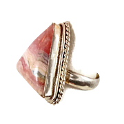 Rhodocrosite Ring, Sterling Silver, Vintage Ring, Size 8, Pink Stone, Big Statement, Boho Bohemian, Ethnic Tribal, Large Stone, 925