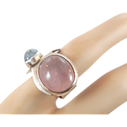 Rose Quartz Ring, Blue Tourmaline, Pink Quartz Crystal, Sterling Ring, Vintage Ring, Big Statement, Pink Ring, Bohemian, Size 7 1/2, Modern