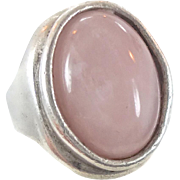 Pink Rose Quartz Crystal Sterling Ring - Vintage Big Statement Unisex - Size 7 1/2 - InVintageHeaven