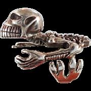 Skull Ring, Skeleton Ring 925, Vintage Ring, Big Statement, Size 9, Gothic Creepy, Biker Rocker, Huge Mens Mans, Unisex, Day of Dead