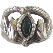 Snake Ring, Celtic Ring, Double Snakes, Sterling Silver, Vintage Ring, Emerald Green, Unique Unisex, Size 9 1/2, Boho Statement, Gothic