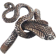Snake Ring, Vintage Ring, Sterling Silver, Biker, Size 9 1/2, Rocker, Boho Statement, Gothic, Egyptian, Wiccan, 925, Bohemian, Unique, NOS