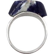 Sodalite Ring, Sterling Silver, Vintage Ring, Mexico, Big Blue Stone, Unique Unusual, Unisex Mens Mans, Size 11 1/2, Statement, East West