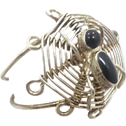 Spider Ring, Spider Web, Vintage Ring, Sterling Silver, Gothic Jewelry, Biker, Statement, Unique Creepy, Odd, Adjustable, Size 8 1/2