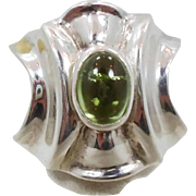 Tourmaline Ring, Green Gemstone, Sterling Silver, Vintage Ring, Contemporary, Size 6 1/2, Big Statement, Cigar Band, Modern, Large Chunky