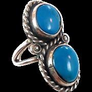 Turquoise Ring, Statement Ring, Vintage Silver Ring, Vintage Big Long, Native American, Statement Ring, Size 7, Boho Bohemian