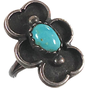 Turquoise Ring, Sterling Silver, Shadow Box, Native American, Vintage Ring, Statement Ring, Navajo, Old Pawn, Size 4.5, Boho Bohemian