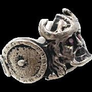 Viking Ring, Sterling Silver, Vintage Ring, Size 12 1/2, Red Spinel Eyes, Details Unique, Mens Mans, Big Statement, Large, Biker Rocker