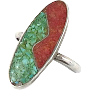 Vintage turquoise & coral inlay sterling silver ring - Ethnic gypsy - Size 5 - InVintageHeaven