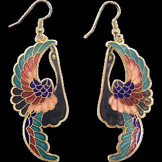 Peacock Earrings, Cloisonne Earrings, Vintage Earrings, Bird Earrings, Enameled, 1970s 70s, Pierced Dangle, Large Statement