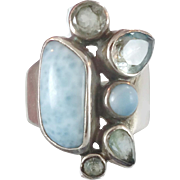 Larimar Ring, Blue Topaz, Sterling Silver, Vintage Ring, Multi Gemstone, Mixed Stones, Blue Ring, Dolphin Stone, Big Long Piece, Size 8